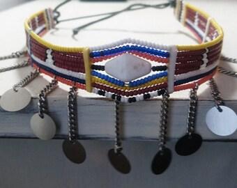 "Burgundy Maasai Necklace ""Engotoo"""