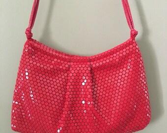 Vintage 1950's Lumured Red Mesh Handbag