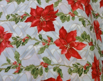 Ribbons and Holly - by Hoffman Fabrics, Christmas fabric, Poinsettias Fabric, Gold Metallic Outlines, Fabric on the Bolt