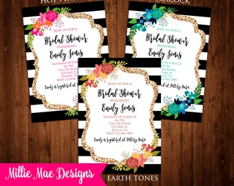 SALE 25% OFF Custom Black, White and Gold Floral Invitation