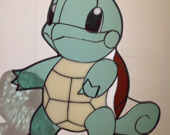 Squirtle inspired glass piece