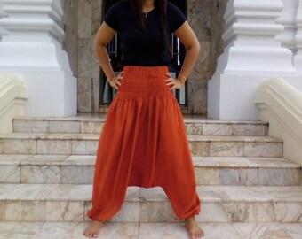 Ladies Harem Pants Deep Drop Smocked Screen Yoga Spiritual Tan Terracotta
