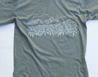 Mountain trees tee, nature shirt, art print on american apparel 50/50 shirts. free shipping in US.