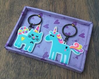 Set of 2 cute unicorn key chains / key ring / pendant (OV01)