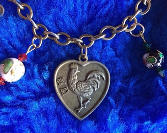 Year of the Rooster Asian Reversible Two-Sided Charm Bracelet Chinese New Year Lunar New Year