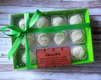 Gift Box of 12 White Chocolate Malibu Truffles - Personalised Pack