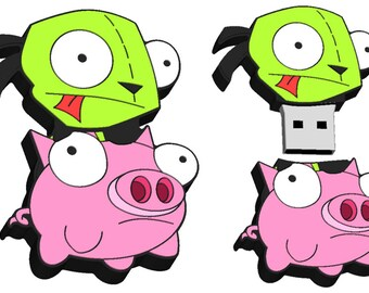 Invader Zim Gir on Pig 8GB Usb Flash Drive