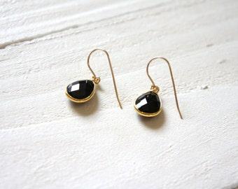 Black Onyx Earrings / Black Gemstone Earrings / Gift