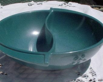 Vintage Boonton Melmac Dark Green Round Divided Dish