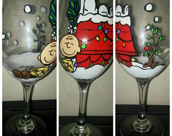Charlie Brown Christmas Inspired Hand Painted Wine Glass