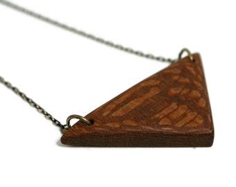 Exotic hardwood triangle pendant