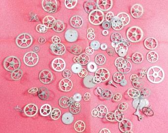 106  Vintage Steampunk Watch Gears Wheels Parts Altered Art.#-3
