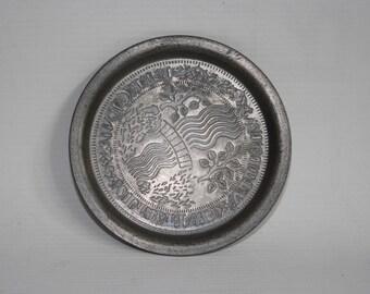 Vintage Antique Retro Pewter Coaster Pin Dish Dutch Memorabilia Collectible