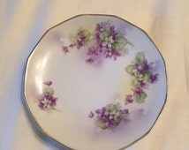 """Vintage Estate Art Deco Royal Rudolstadt Prussia Plate Decorated With Purple Flowers! 6"""" W!"""
