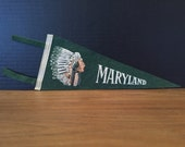 Vintage Maryland Pennant Green Native American Indian Felt Mini Travel