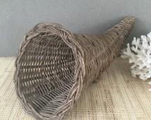 Vintage cornucopia | small cornucopia | cornucopia basket | wicker cornucopia | fall thanksgiving | autumn decor | centerpiece | tablescape