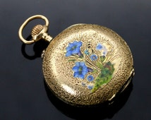 Antique // 1920s // Blue Green Enamel Bell Flower //Automatic Swiss Made // 14K Solid Yellow Gold // Ornate Pocket Watch WORKING