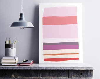 Printable Art Abstract, Printable Art, Acrylic paint, Digital Download, pink and light orange, large abstract painting, instant download