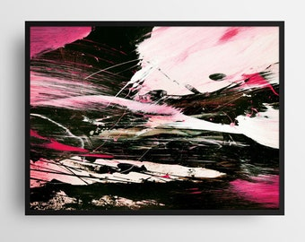 Printable Abstract Art, Large Wall Art, Modern home Decor, abstract paintings, Minimalist Home Decor, Acrylics, black and pink