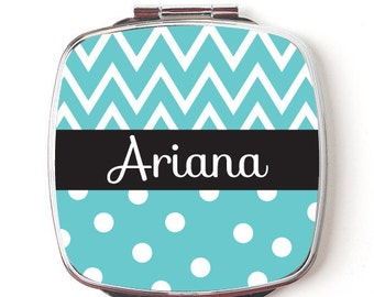 Custom Bridesmaids Gifts, Personalized Compact Mirror, Teal Chevron and Polkadot Design, Wedding Party, Makeup Mirror