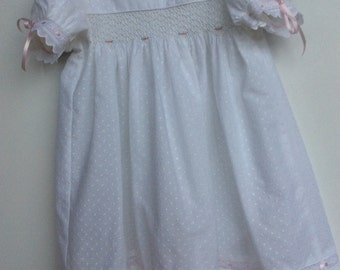 Baby's smocked square yoke dress. Size6-12 months