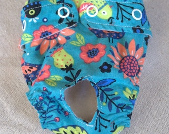 FREE SHIPPING. Dog diaper. In season diaper. Dog panty. Blue With Birds. XX-Small