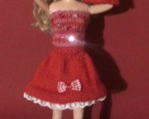 Hand Knitted Barbie doll Clothes  - sequinned/lace outfit - 2 tops, skirt & boots