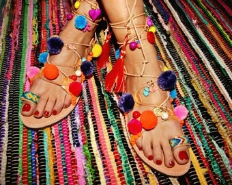FREE SHIPPING Boho Lace-up handmade Leather sandal : Lesvos
