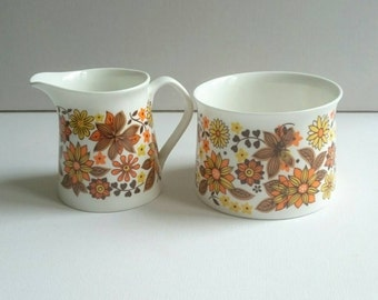 Rosina Creamer and Sugar Bowl in Floral Oranges and Yellows