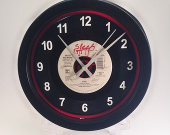 """Faith No More """"Epic"""" Upcycled Vinyl Record 45 rpm Wall Clock One Of A Kind Record Clock"""
