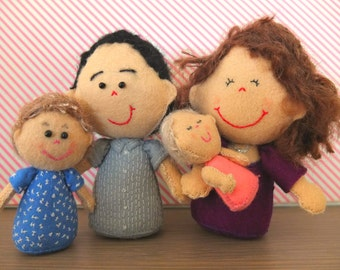 Family Portrait, Family Gift, Felt ornament, Selfie Doll, Wee Plushie Me, Personalised ornament, Christening Gift, Customisable figurine