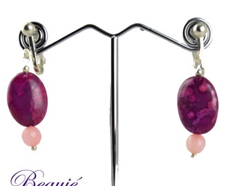 Clip on earrings-pink earrings-silver clip ons-gemstone earrings-semiprecious earrings-clip on-not pierced-rose quartz
