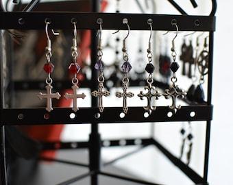 Goth elegant cross earrings