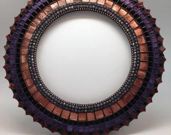 handmade, small, 12 inch, mosaic round mirror, mosaic art