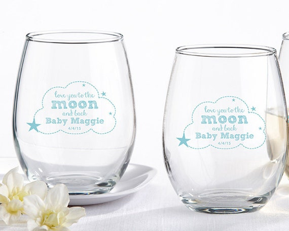 Baby Shower Favors Stemless Wine Glasses ~ Personalized oz stemless wine glass to the moon by