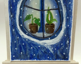 Original oil painting on canvas 'Cozy winter' Secret Hollow Christmas gift Housewarming Pots with  plants Christmas sale Free UK Delivery