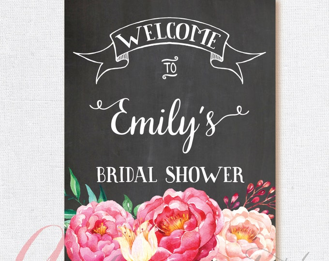 Welcome Bridal Shower Sign. Chalkboard Welcome sign. Printable chalkboard poster. Chalkboard bridal sign. Floral bridal welcome sign