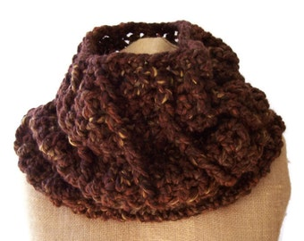 MADE TO ORDER Drums of Autumn inspired brown wool blend super chunky reversible  crocheted cowl
