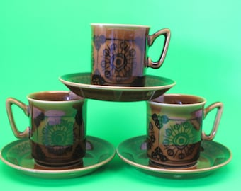 3 Sets of Stavangerflint Demitasse Cups and Saucers