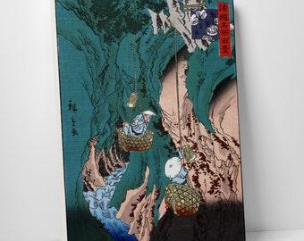 Japanese Art Hiroshige's Kishu Kimanu Iwatake Gallery Wrapped Canvas Print