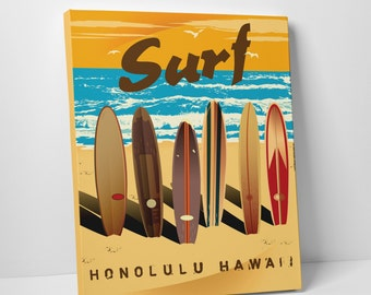 Surf Honolulu Hawaii Gallery Wrapped Canvas Print