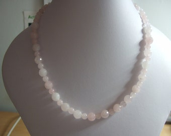 "Rose Quartz 17"" Beaded Necklace with Sterling Silver Bolt Clasp"