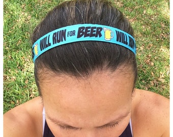"""Will Run For Beer running headband 7/8"""" wide non slip"""