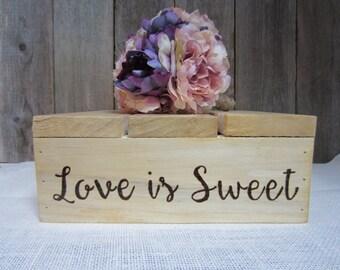 Love is sweet cake stand, cake stand, love is sweet, custom cake stand, sweets stand, rustic cake stand, rustic wedding cake stand, cake