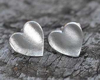 Fingerprint Heart Wedding Cufflinks, for daddies, fingerprint jewellery