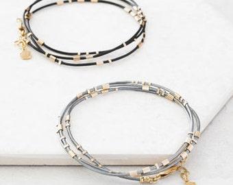 Personalised Ladies Morse Code Gold Wrap Bracelet, Message Bracelet, Custom Bracelet, Secret Message Bracelet