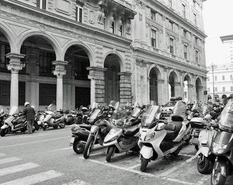 Black and White, Italy Photography, Europe, Motobikes, Motorcycles, European City, Travel Decor, Genoa, Genova, Italy wall art, photo print