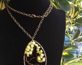 Seafoam Jade Tree of Life Necklace