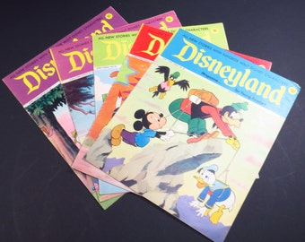 Walt Disney Kids Magazines 1970s Set of 5 Vintage Disneyland Magazine Issues 80, 81, 83, 86  and 90