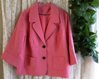 Vintage 3X 4X CROPPED JACKET SWING Style Brocade Style 2-Button Front Work Casual Dress Dinner Fully Lined Plus 40s 50s Inspired Salmon Pink